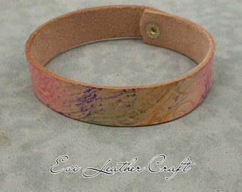 16 mm colourful  Leather bracelet /049/ hand tooled leather cuff / leather wristband / women's cuff