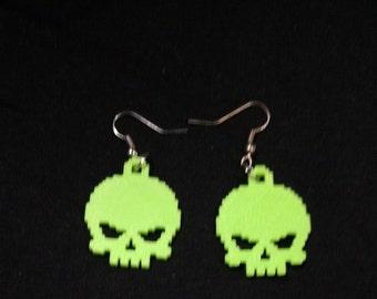 8-bit 3d printed Skull earrings, Green