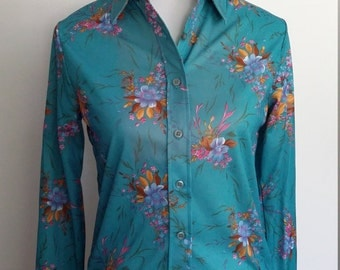 Floral 70's blouse, S, teal blouse, blue 70's top, blue 70's blouse, button front top, blue top, teal blue top, floral top