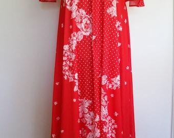 70's caftan, 70's robe, patchwork caftan, polka dot robe, folk caftan, red caftan, red robe, zip front robe, ruffled robe, ruffled caftan