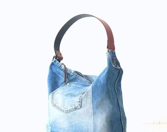 Jeans bag Leather strap Tote bag Bags & Purses Denim bag Denim handbag Purse Canvas bag Recycled jeansShoulder bag