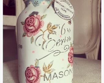 Hand made rose & bee mason jar