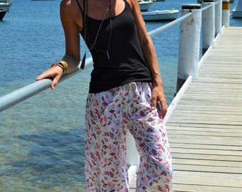 White cotton pyjamas / pajamas / lounge pants with pink flower design