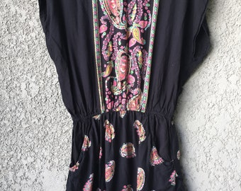 Black paisley cotton dress