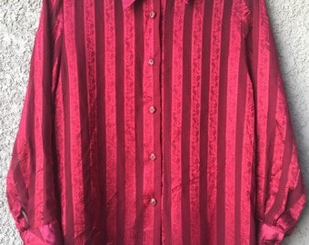 CLEARANCE Red Laiyishi semi sheer striped blouse