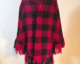 Red & Black Checkered Shawl - SOLD