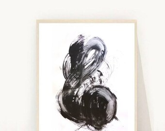 Abstract Art Print, Printable Art,  Black and White Art, Wall Art, Minimalist Art, Home Decor, Instant Download, Wall Decor, Black Abstract