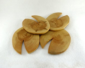 Wooden coasters, wood slices, four carved coasters