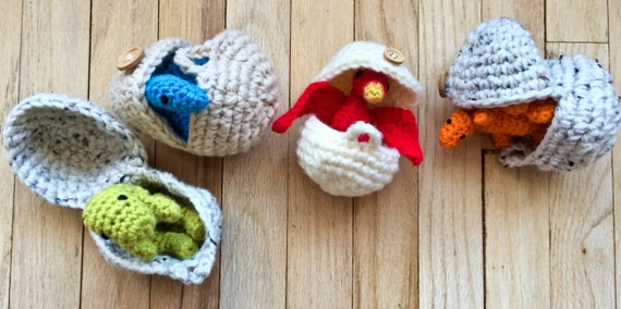 items similar to full set    crocheted baby dinosaurs in eggs  baby dinos  amigurumi dinosaurs