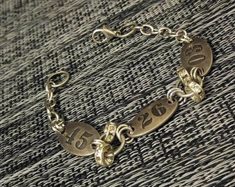 Unusual number tags and crystal chain bracelet eclectic handmade jewelry