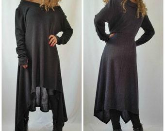 Grey Asymmetrical Sweater Top / Long Sleeve Sweater Dress / Knitwear cotton dress / EXPRESS SHIPPING -