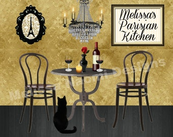 Personalized Kitchen Art, Parisian Kitchen, Paris Cafe, Customize With Your Name, Digital or Printed Kitchen Art Print, Original Design