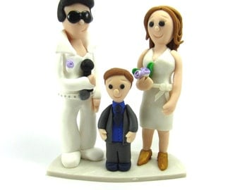 Wedding Cake Topper, Elvis, Personalised Bride and Groom and Children, Mr, Mrs, Custom Family Wedding