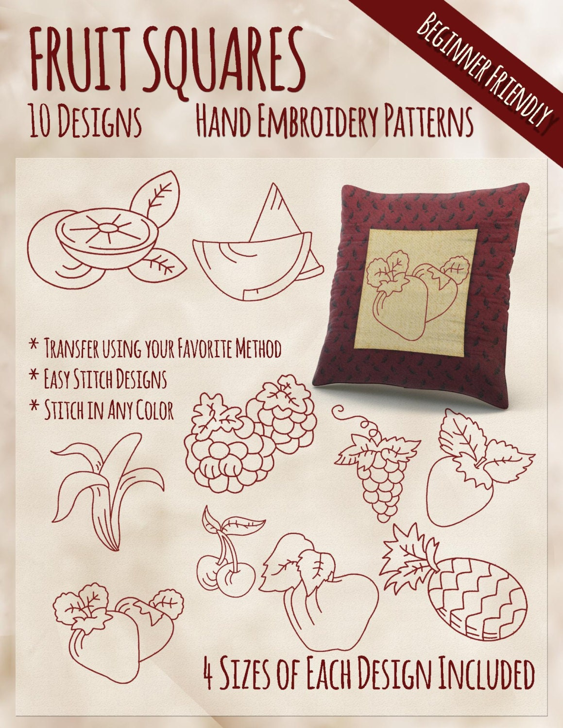 Sale hand embroidery patterns fruit squares in sizes pdf