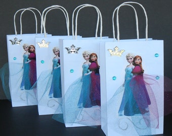 INSPIRED 12pc Disney Frozen 12pc Elsa & Anna Birthday Party Favor Goody Gift 3D Bags hand made with real picture