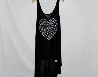 Geometric Heart- Womens Black Tanks, Womens Top, Tops & Tees, Tumblr, Beach Wear, for Teens, Tank Top Dress, Summer Wear, Fast Shipping