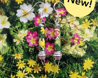 Floral Print Paper Bead Earrings