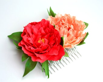 Red coral pearch peonies flower floral wedding bridal hair comb accessories, peony wedding hair comb, bride flower brigth peony hair comb