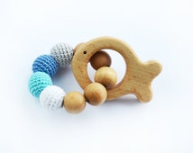 Teething Rattle Ring with wooden Fish toy - Wooden teether - New baby - Babyshower gift - Boy gift - Wooden toy fish - Blue Grey Cream