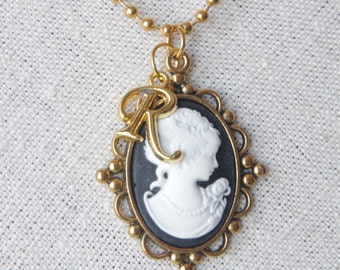 Black cameo necklace Personalized Necklace Victorian Woman Cameo Victorian Jewelry Cameo pendant Antique Brass Best Friend  Gift for Her