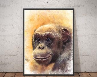 Monkey Art - Monkey Decor Watercolor Wall Art. Monkey Wall Art Print, Printable Art, Monkey Wall Art. Digital Print Monkey Watercolor Art