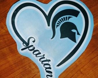 I Heart Spartans, window decal, big 10 team, college, football, basketball, baseball, Michigan State