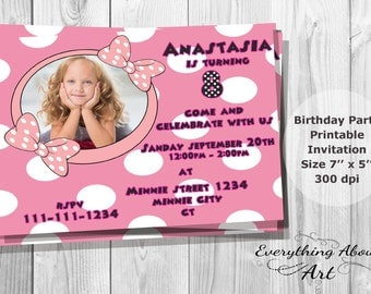 Minnie Mouse Invitation, Minnie Birthday Invite, Minnie Invitation with Kid's Photo, Polka Dots, Printable Invite, PERSONALIZED Party Invite
