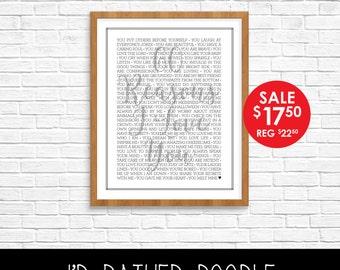 Reasons I Love You - Reasons We Love You  - 60 Reasons - Customized Printable Poster - Printable Sign - Birthday Anniversary - Digital