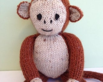 Knitted monkey. Handmade Toy. Nursery gift. Knitted animal. Australian made toy.Baby shower gift.
