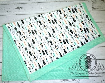 Feather Baby Blanket - Designer Minky Feather Baby Blanket - Mint