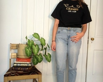 "vintage embroidered tourist ""cannes"" t shirt"
