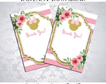 50% OFF SALE Thank you Card Minnie Mouse Floral Watercolor, Blank Card, Instant download, pdf jpg