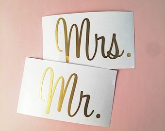 Mr & Mrs Decals, Wine Glass Decals, Wedding Decals, Wedding Stickers, Mr and Mrs Stickers, Mr and Mrs Wine Glass Decal, Champagne Decal