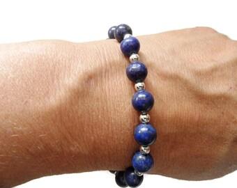 Magnifique Bracelet Lapis-Lazuli En Argent Massif 925