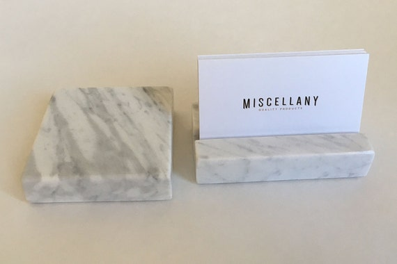 Desk set business card holder and paperweight by for Marble business card holder