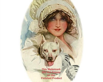 Downloadable Art Print BULL TERRIER and Glamorous Lady 'PALS'