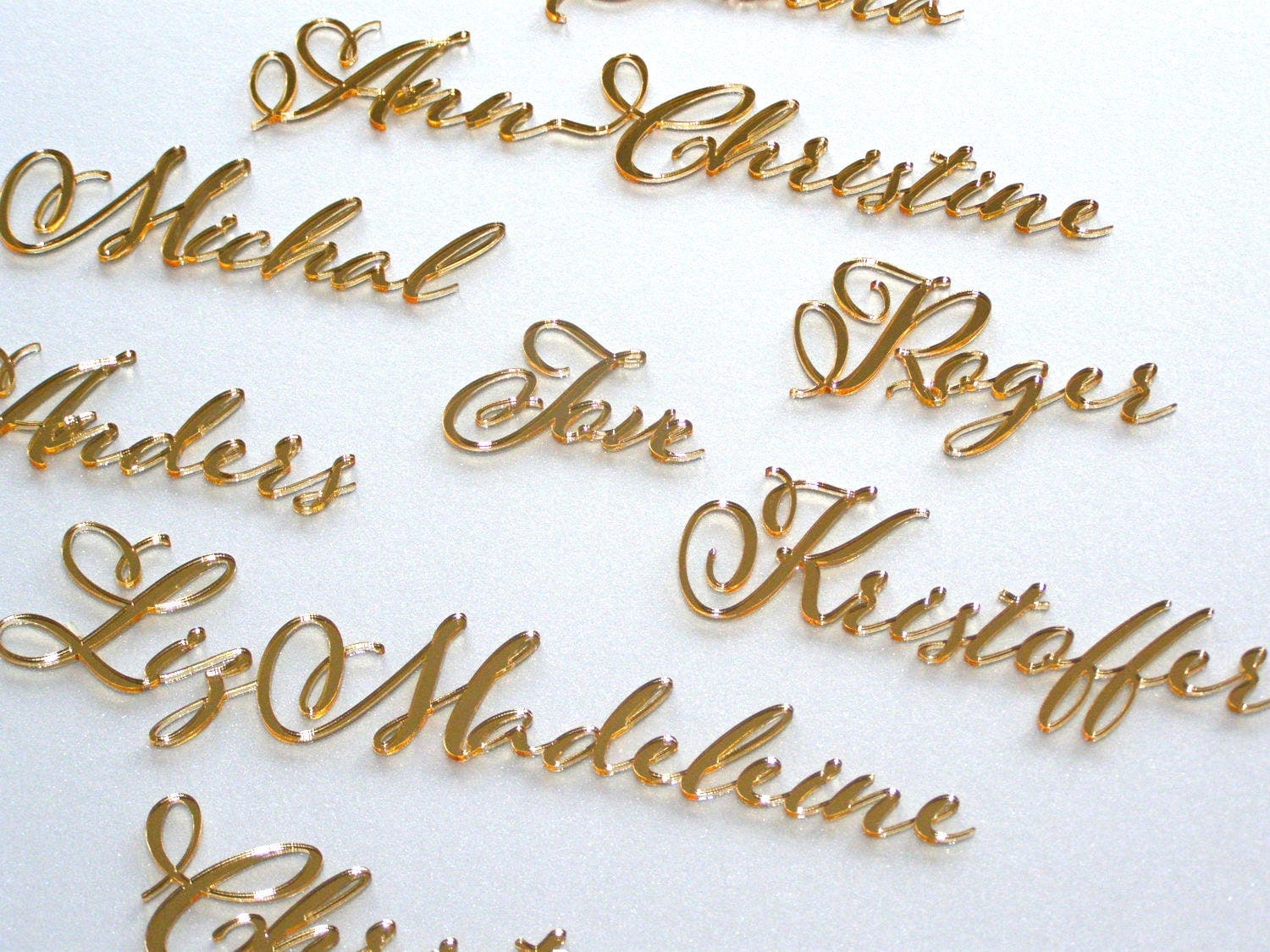 Laser Cut Names Calligraphy Cards Personalized Wedding Place