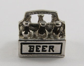 Six Pack of Beer Bottles With Black Enamel Sterling Silver Vintage Charm For Bracelet