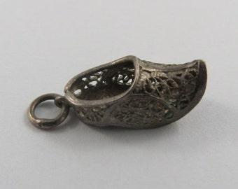 Reticulated Dutch Clog Sterling Silver Vintage Charm For Bracelet