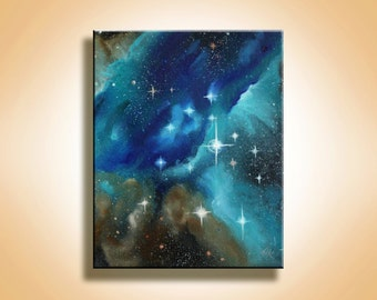 Original Painting - Blue Galaxy - Space Art - Galaxy Art - Outer Space - Inspirational - Spray Paint Art - Oil Painting - Stars - Painting