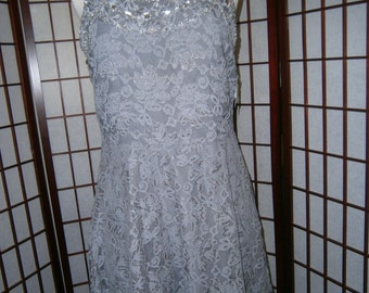 Women's Grey Lace Dress with Glass Beading