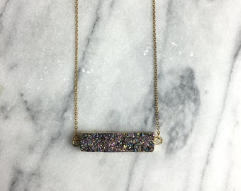 Agate Druzy Necklace, Bar Necklace, Druzy Pendant, Gold Necklace, Druzy Necklace, Druzy Jewelry, Rainbow Druzy, Druzy, Titanium