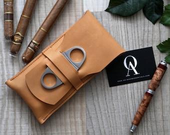 Etui cigare avec coupe-cigare cuir / / Monogram / / personnalisable / cadeau pour lui / / / gentilhomme