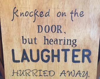 Laughter, Custom wood inspirational plaque