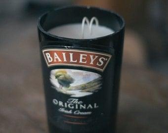 Recycled Irish Cream Bottle Candle.