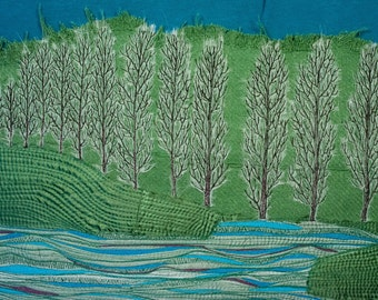 Fibre art/textile art, wall hanging - Lombardy Poplar- Free shipping to Canada and USA!