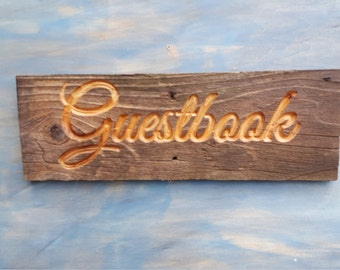 Carved Rustic Guestbook Sign, Reclaimed Rustic Sign, Rustic Wedding