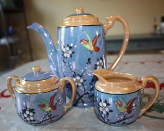 Lovely Lusterware Birds and Blossoms, Vintage Coffee /Tea Pot with Creamer, Sugar, Japan
