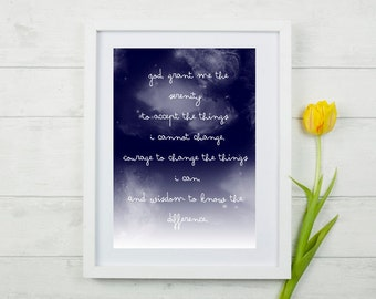 Serenity Prayer Printable Instant Download, Christian Art, Bible Verse, Christian Wall Art