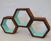 Hexagon Shelf -Geometric Shelf - Shelving - Aqua Honeycomb Shelves - Modern shelf - Wall Shelf - Minimalist Shelves
